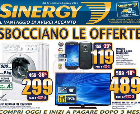 Volantino Sinergy: offerte smartphone e Tv Led