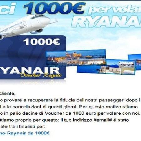 Un buono-truffa che promette voli gratis Ryanair e spesa su Amazon
